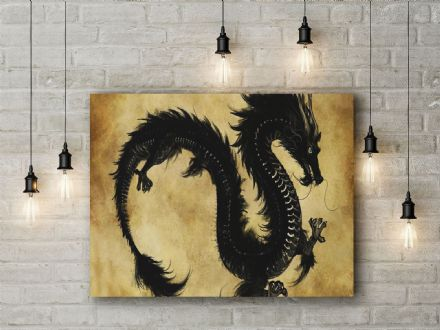Black Chinese Dragon . Fine Art Canvas.